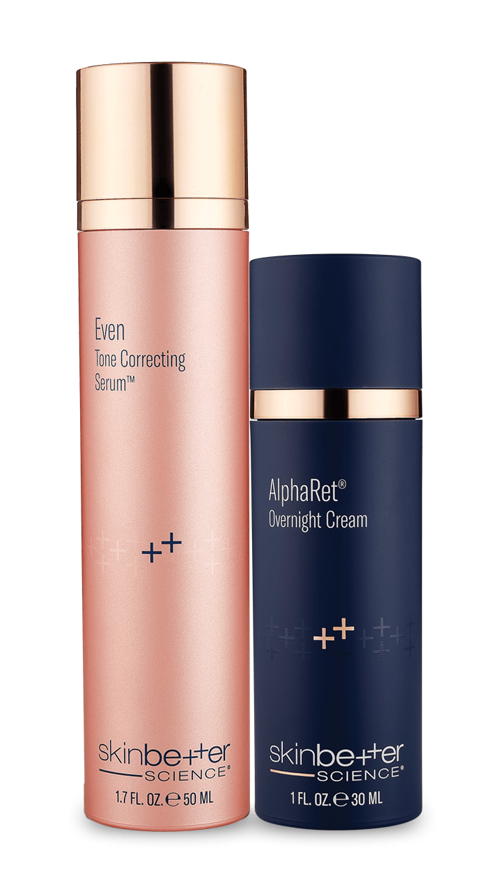 Even Tone Correcting Serum and AlphaRet product bottles
