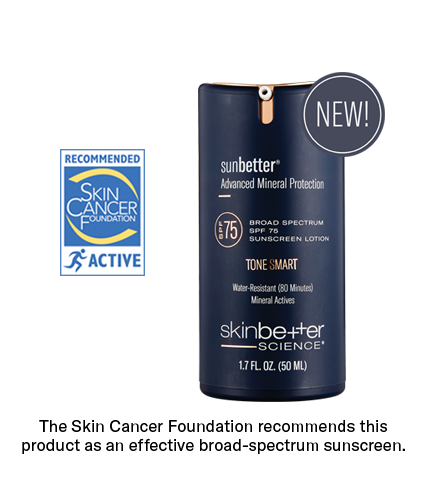 sunbetter TONE SMART SPF 75 Sunscreen Lotion with Skin Cancer Foundation and NEW Seal